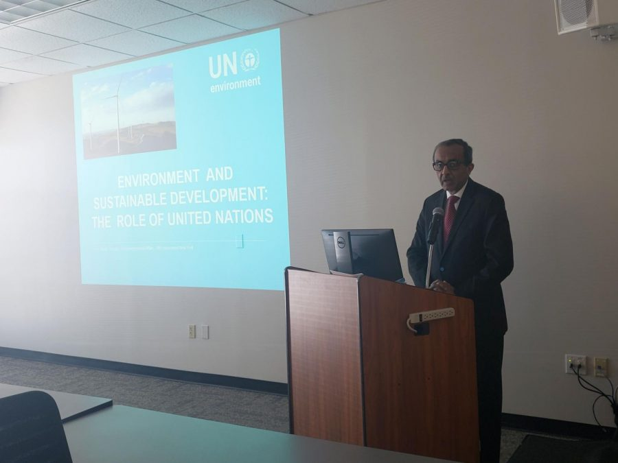 Jamil Ahmad,  head of intergovernmental affairs at the New York office of the United Nations Environmental Program, presented a climate change lecture from the perspective of a government official.