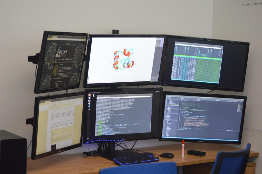 The six monitor setup in Lucent's lab requires multiple high-end GPUs to power the monitors and the computer simulations. It has 126 gigabytes of RAM, over two terabytes of storage and two 8-core CPUs. It was paid for by a Wilkes Research and Scholarship Grant.
