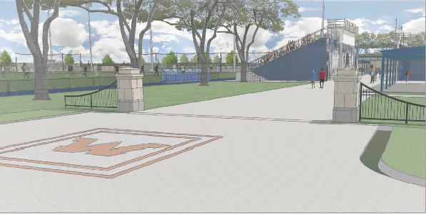 The renovations will include enhancements to the fan experience, including a new parking lot entrance, shown above in an artistic rendering.