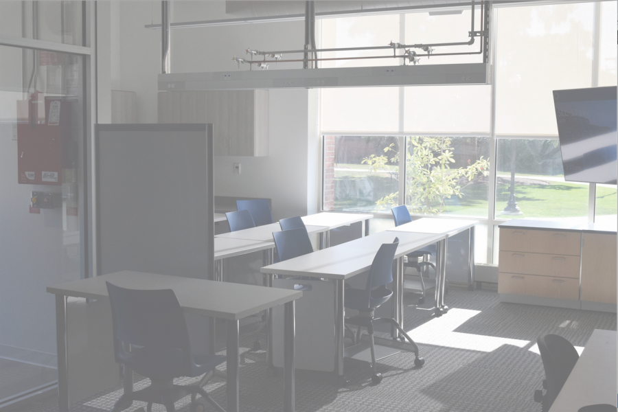 The interior of the collaboration lab consists of a server room and numerous large monitors to display data simulations. The lab will be available to any faculty and students, but with research projects having priority access.