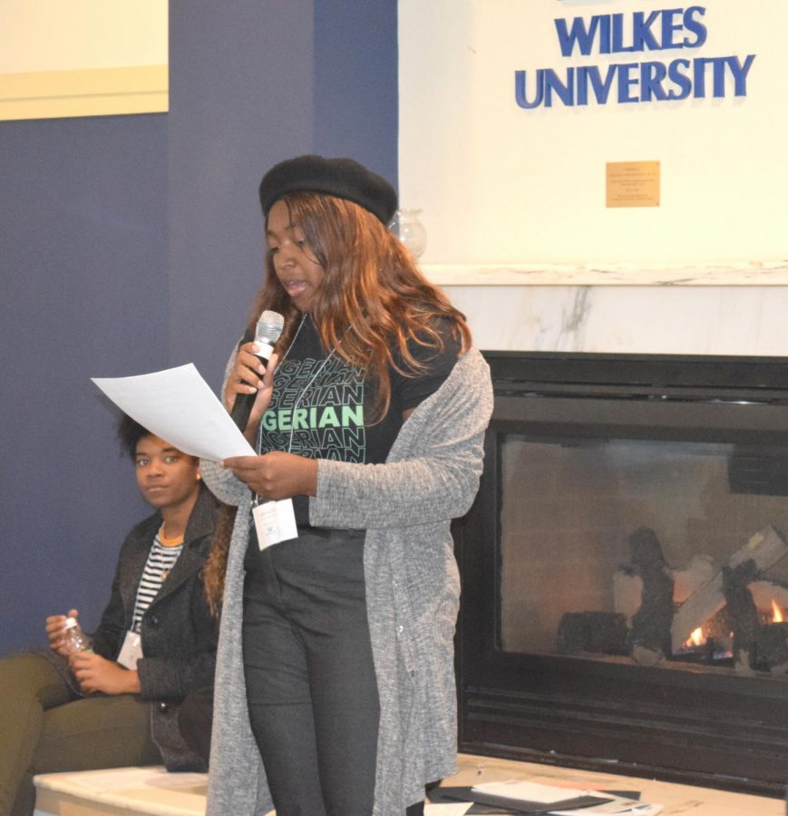 Mmachi Dimoriaku, senior theatre arts major, read a fictional story about microaggressions to the students.