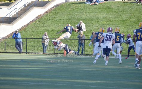 Senior wide receiver Derek Nelson hurdled over an FDU defensive back for his second touchdown of the game.
