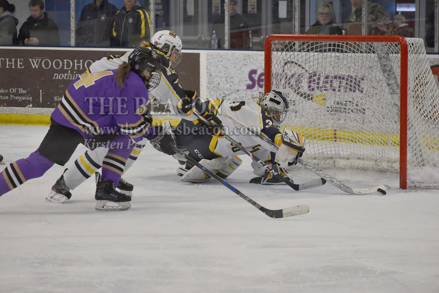 Sophomore goaltender Allyson Joly ties her season-high with 44 saves against Nazareth College on Friday night.