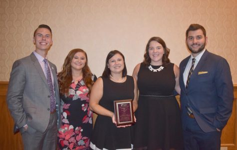 Pictured from left to right, Cody Morcom, Nicole Hughes, Kimberly Ference, associate professor of pharmacy practice, Rachel Wood and Dylan Fox.