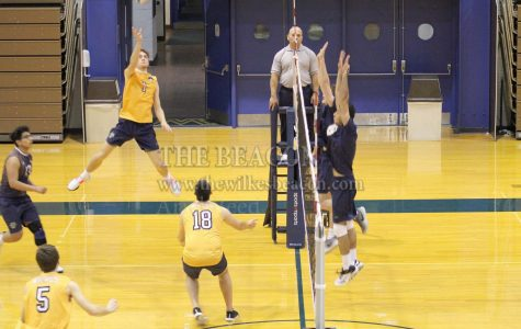 Outside hitter Zach Evans (1) recorded seven kills and two blocks in Wilkes' 3-0 sweep against Neumann University in their season-opener on Tuesday, Jan. 21.