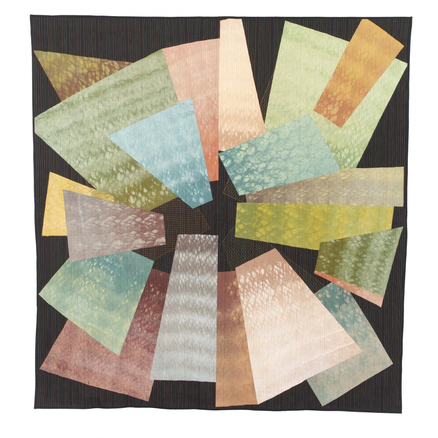 """""""Things Fall Apart"""" by Mary Lou Alexander, shibori and overdyed cotton fabric using Procion MX dyes, wool batting and cotton thread."""