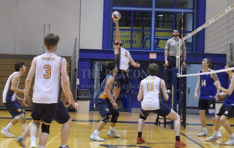 Junior outside hitter Andrew Potter (9) led Wilkes' second match of the night against Widener with 14.5 points and 12 kills.