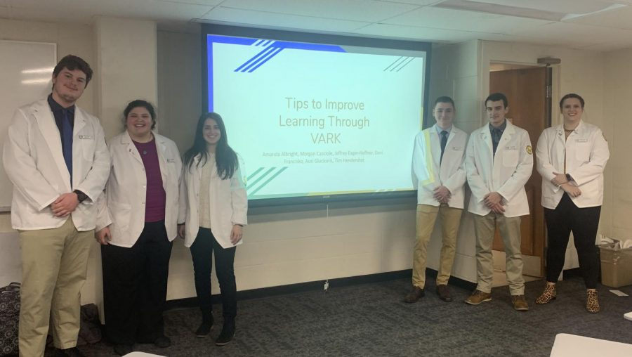 From left to right, P1 pharmacy students Timothy Hendershot, Amanda Albright, Morgan Casciole, Jeffrey Eager-Heffner, Auri Glucksni and Dani Francisko after giving their presentation on learning styles.