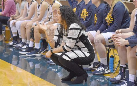Wilkes coach Tara Macciocco questions a call during the Colonels loss to Eastern on Saturday.