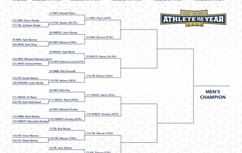 Both sides of the bracket have been updated after the Round of 16. The men's side advanced five upsets.