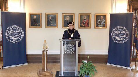 President Greg Cant honored degree recipients virtually on Sept. 12.