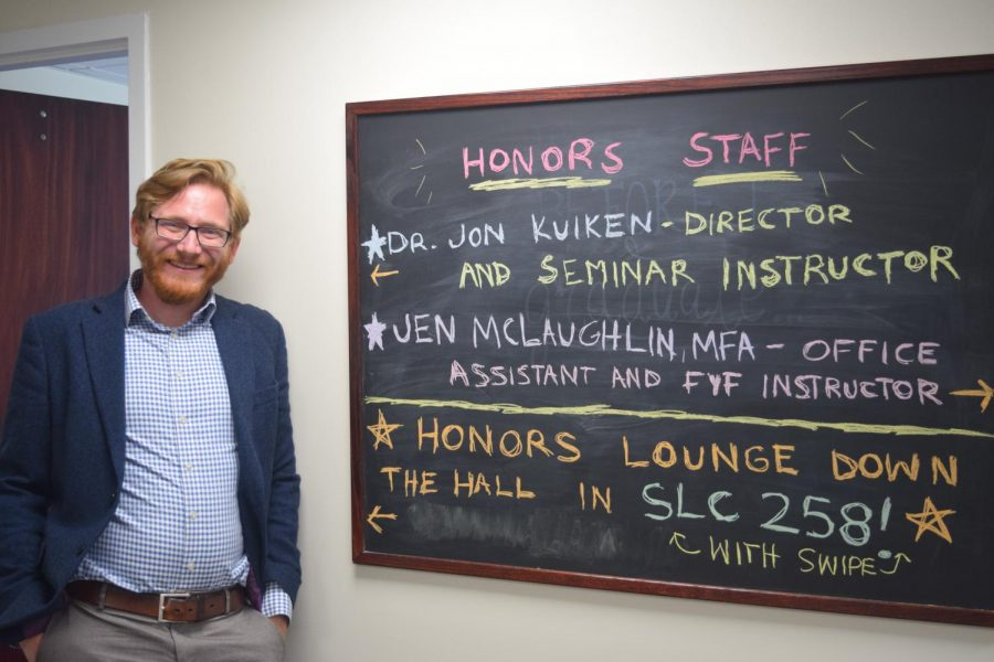 Dr. Jonathan Kuiken in the new offices on the second floor of Stark Learning Center, room 262.