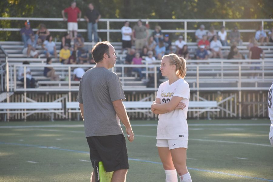 McNichol instructed forward Jessica Egan, one of last year's captains, during their Sept. 21, 2019 contest against No. 19 Arcardia.