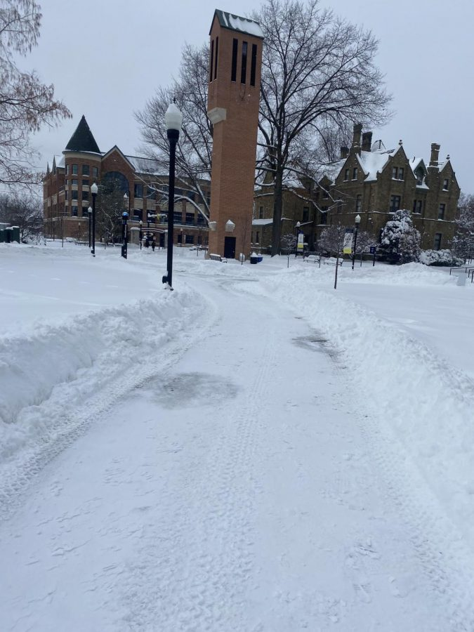 Facilities cleared the snow on the campus walkways.