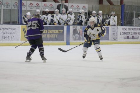 Junior Kendall Castro skated towards the goal to score against Chatham University.
