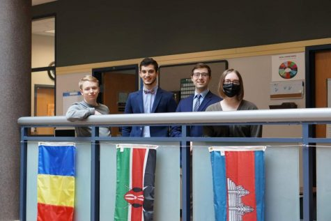 Chris Smith, Juan Astegiano, Nathan Pitcher and Jen Boch (from left to right) attended the Model European Union Conference.
