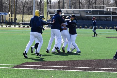 Colonels rushed the field to celebrate with Jonah Harder, who reached first base on an error in the bottom of the ninth inning in game one to score the walk-off run. Wilkes won 7-6 in extra innings against FDU-Florham in game one.
