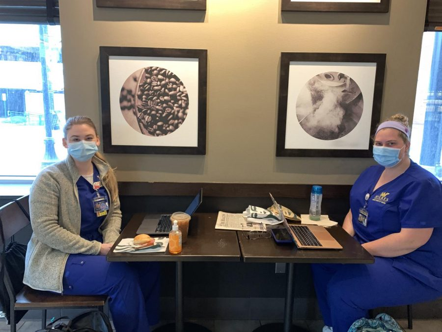 Nursing majors Jessica Congdon and Paige Coombs enjoy the returned seating in Starbucks.